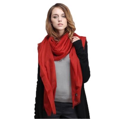精織300支紗100%純色羊絨大披肩(暗紅色一件)
