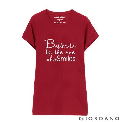 GIORDANO-女裝英文口號純棉印花TEE-09-標誌紅