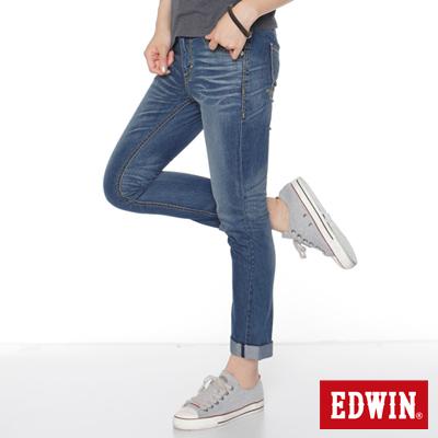 EDWIN-輕夏生活-MISS-503-雙釦涼感B-F牛仔褲-女款-拔洗藍