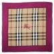 BURBERRY  HORSEFERRY 格紋絲綢大方巾-桃粉色 product thumbnail 1