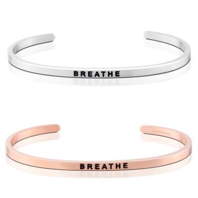 MANTRABAND Breathe 慢慢呼吸 銀X玫瑰金 手環組
