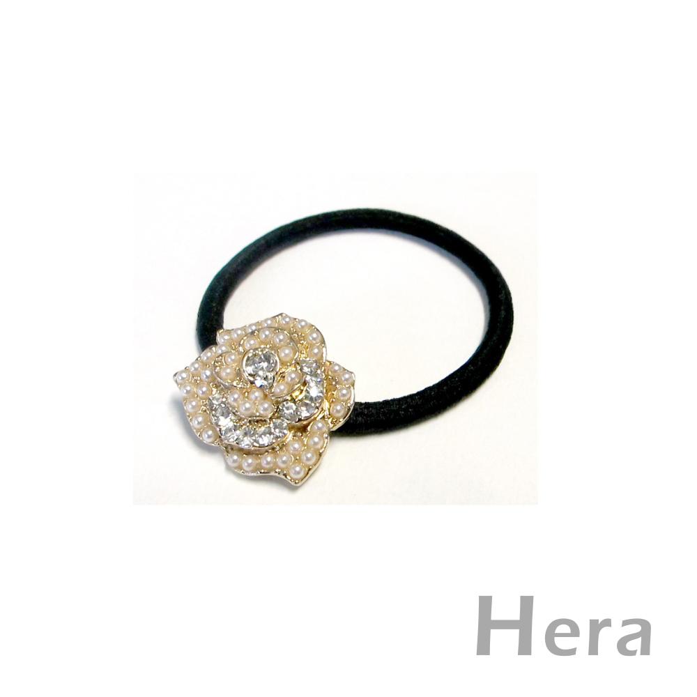 【Hera】戀花物語 珍珠綴鑽山茶花髮束/髮圈(魅影金)
