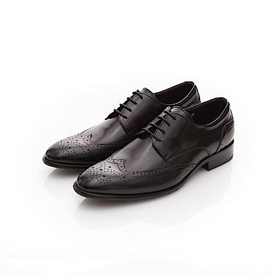 ALLEGREZZA-真皮男鞋-時尚加分-藝紋雕花尖頭皮鞋  黑色
