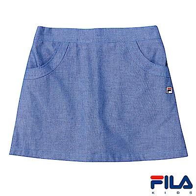 FILA KIDS 女童吸濕排汗平織短裙-藍5SKS-4415-BU