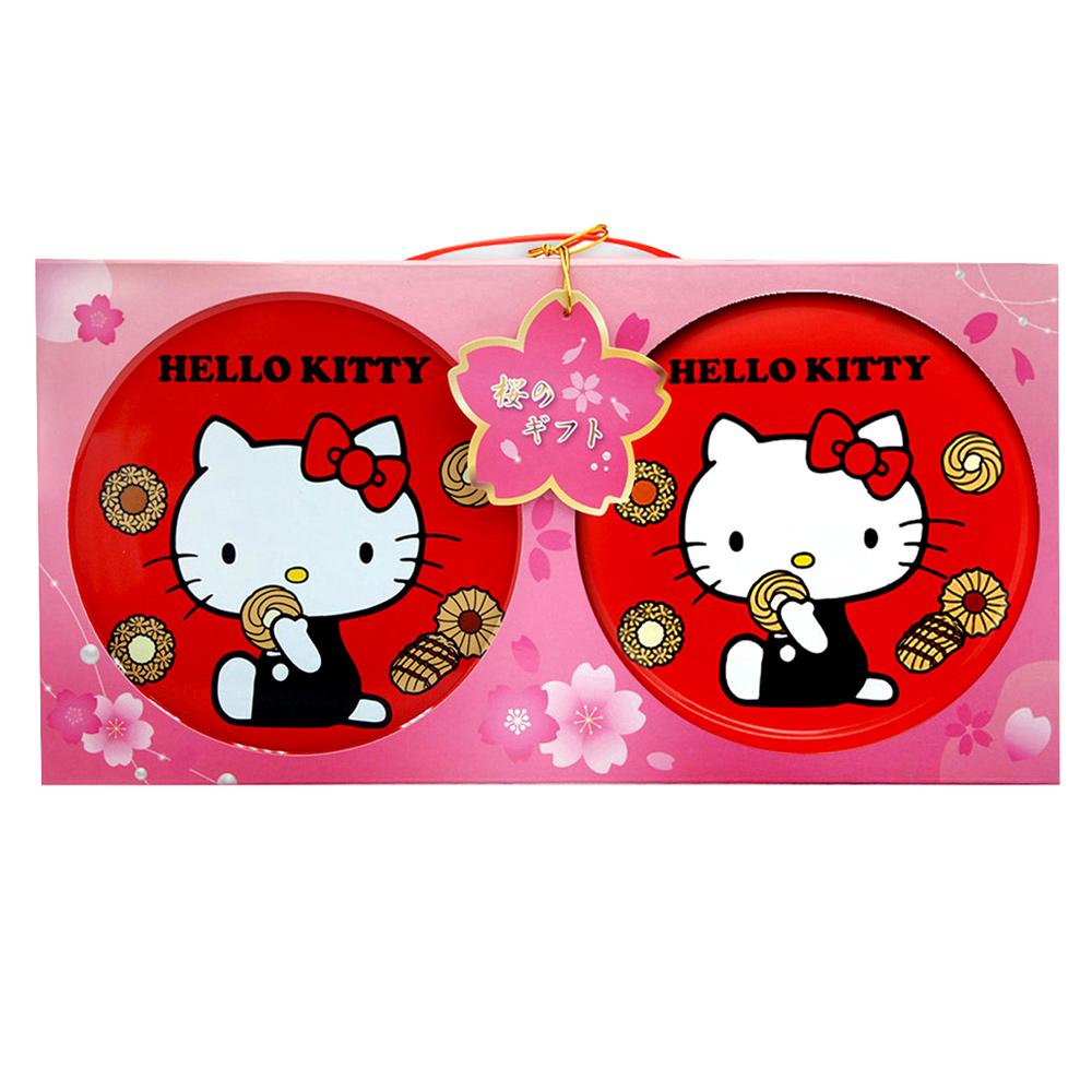 北日本 Kitty凱蒂貓圓罐餅乾雙喜禮盒(60枚x2盒)