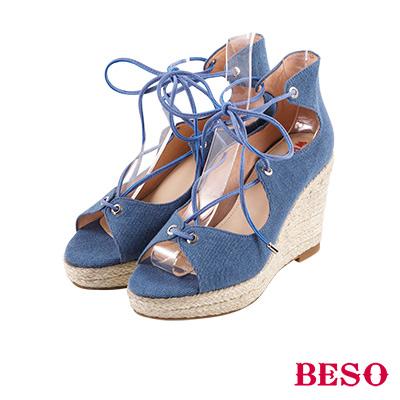 BESO 夏日波西米亞 交叉綁帶蝴蝶結露趾涼鞋~藍