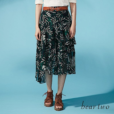 beartwo 度假叢林風多層不對襯及膝裙(二色)