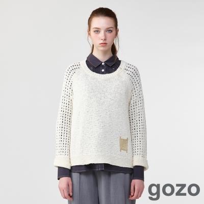 gozo文藝鏤空喇叭袖針織薄衫(二色)-動態show