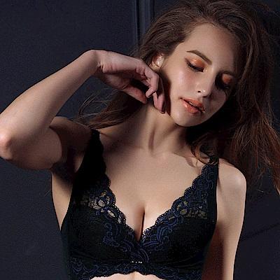 推Audrey-自信V弧蝶 無鋼圈B-D罩內衣(藍戀黑)