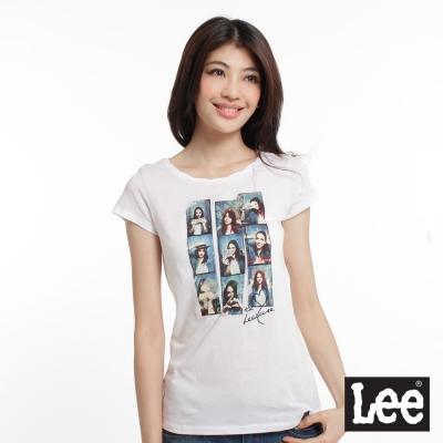 Lee-短袖T恤-懷舊照片印刷麻花邊領口-女款-白