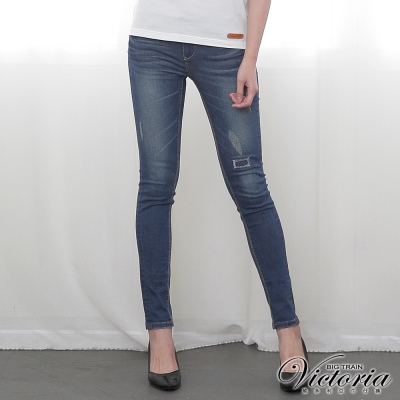 Victoria 低腰個性修身窄管九分褲-女-深藍