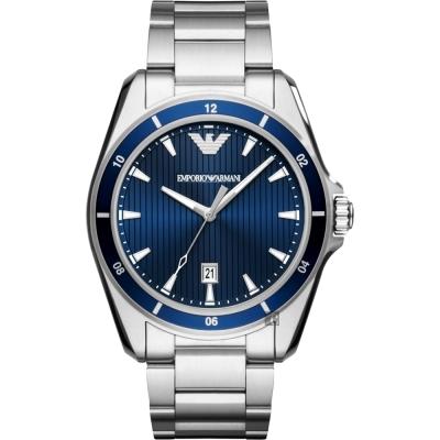 Emporio Armani Sport 紳士風範手錶~藍x銀 44mm