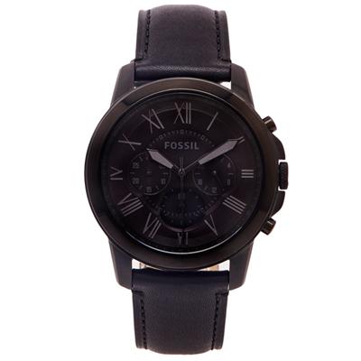 FOSSIL  羅馬優雅風計時的皮帶手錶(FS5132)-黑色面/44mm