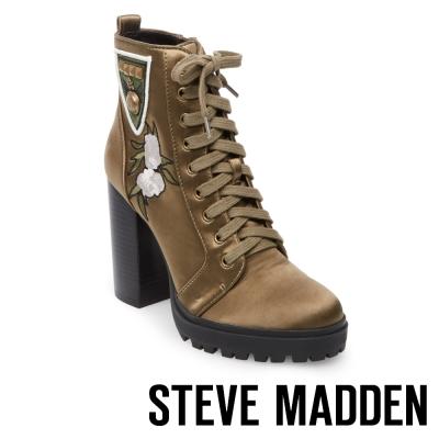 STEVE MADDEN-LAURIE-厚底粗高跟綁帶短靴-軍綠