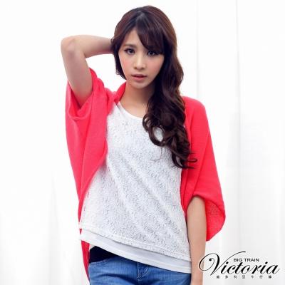 Victoria 素面線衫外套-女-紅