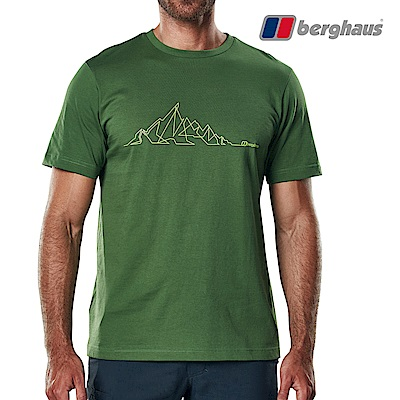 【Berghaus貝豪斯】男款山陵線印花圓領T恤S04M15-綠