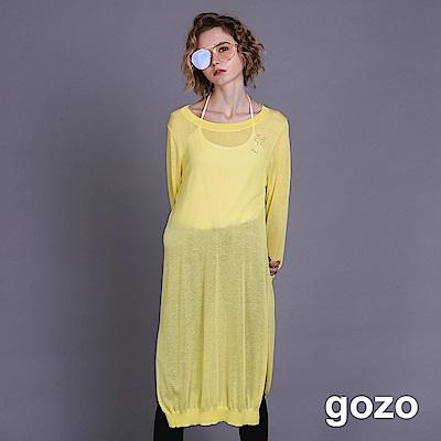 gozo 表情SHOCK長版薄質縷空針織上衣(二色)