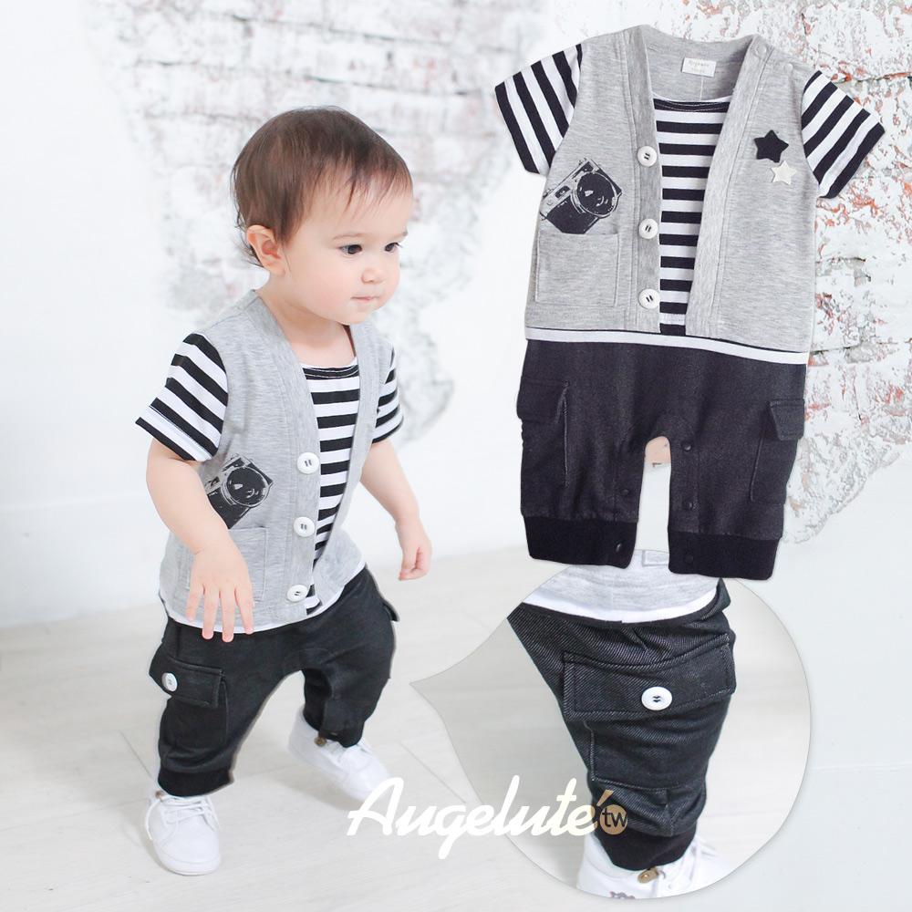 【baby童衣】紳士休閒假三件連身衣  32235