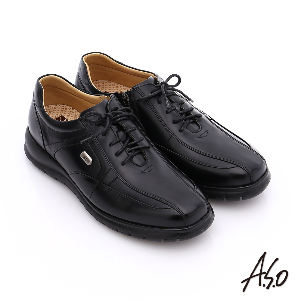 A.S.O 挺力氣墊 油感牛皮綁帶側拉鍊奈米氣墊皮鞋 黑