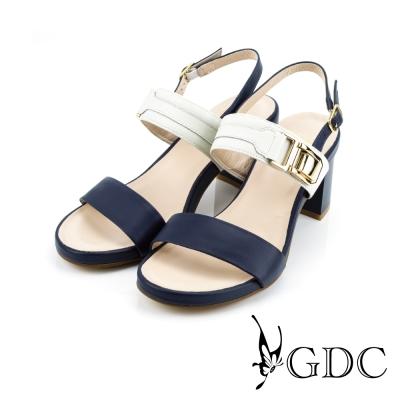 GDC-真皮一字寬版扣帶裝飾造型粗高跟鞋-藍色