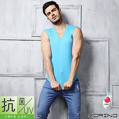男內衣 抗菌防臭速乾無袖衫上衣 (水藍) MORINO