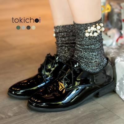 東京著衣 多色季節限定優雅名媛珍珠金蔥襪(共四色)