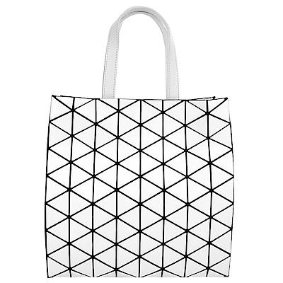 ISSEY MIYAKE三宅一生BAOBAO紙袋造型啞光皮革手提包(灰白)