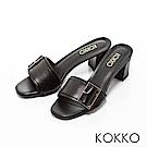 KOKKO-漫步曼哈頓金屬扣粗跟涼拖鞋-知性黑