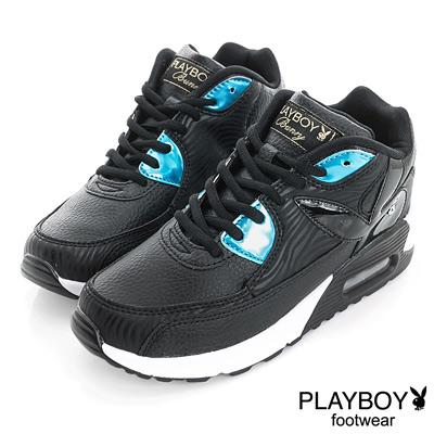PLAYBOY 玩樂主義 閃亮皮料拼接慢跑運動鞋-黑(女)