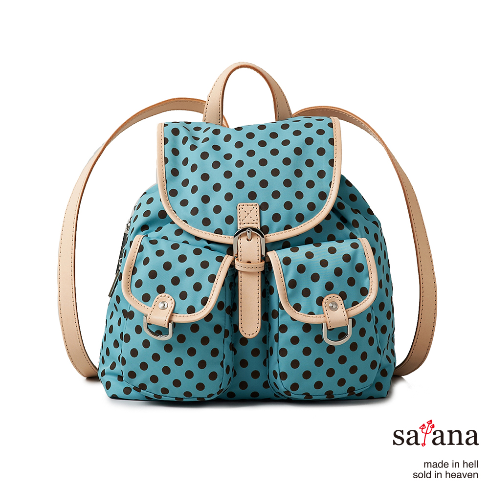 satana -929 Ladies 都會摩登 迷你輕巧後背包-薄荷藍圓點