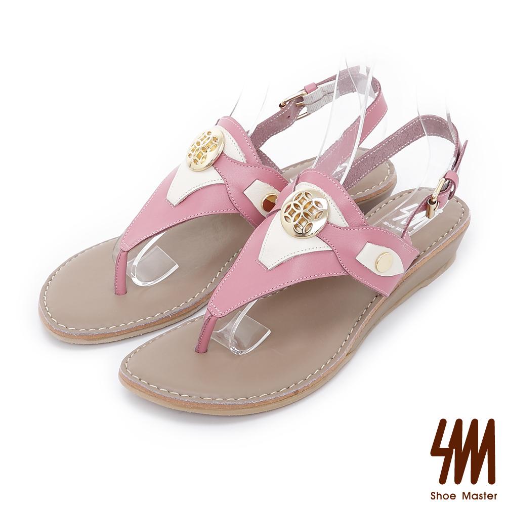 SM-羅馬系列-真實之眼金屬扣夾腳平底涼鞋-粉色
