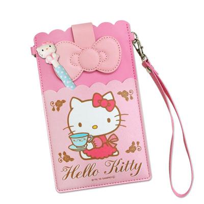 三麗鷗授權正版 Hello Kitty凱蒂貓 皮革紋手拿包 萬用手機袋(凱蒂杯子...