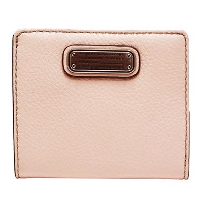 MBMJ 金屬標雙折扣式牛皮短夾-珍珠粉紅