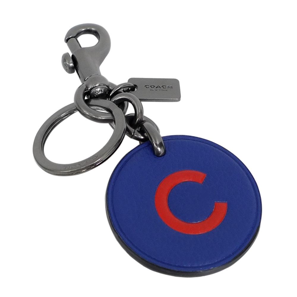 COACH MLB聯名系列芝加哥小熊隊圓型掛牌雙扣環鑰匙圈