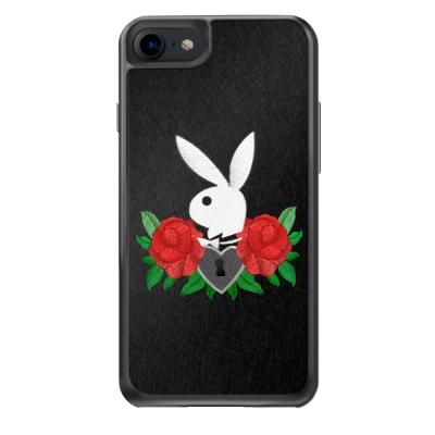 DDPOPxPlayboy iPhone 7 精品手機防摔保護殼-玫瑰刺繡款