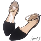 Ann'S惹人憐愛-軟金屬繞踝優雅滾邊平底尖頭鞋-黑