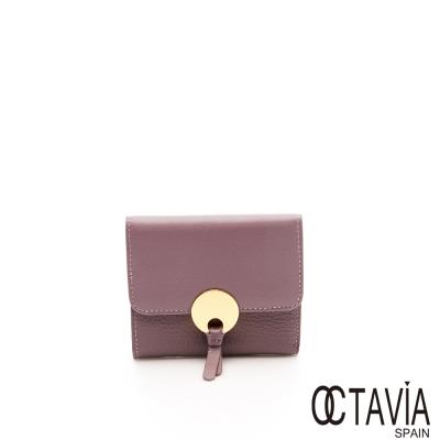 OCTAVIA 真皮 - 金扣子 三折式金圓扣牛皮短夾 - 甜蜜紫