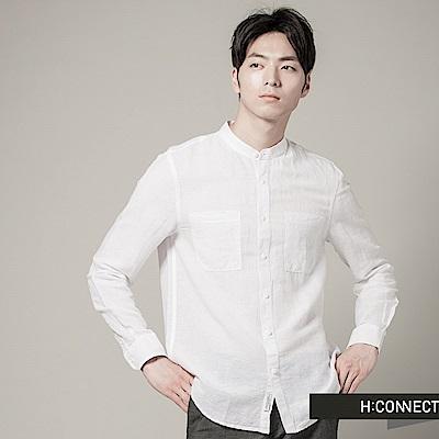 H:CONNECT 韓國品牌 男裝 - 亨利領純色亞麻襯衫-白(快)