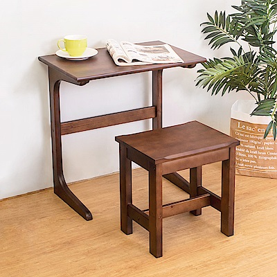 Boden-Adan胡桃色實木L型邊桌-贈椅(DIY)-60x40x63cm