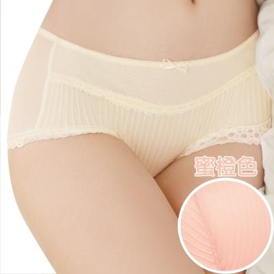 思薇爾 撩波系列M-XL蕾絲中低腰平口褲(蜜橙色)