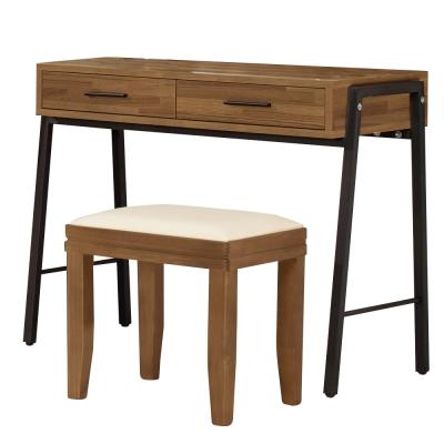 Boden-諾德3尺淺胡桃色化妝台-下座(贈化妝椅)-90x45x75cm