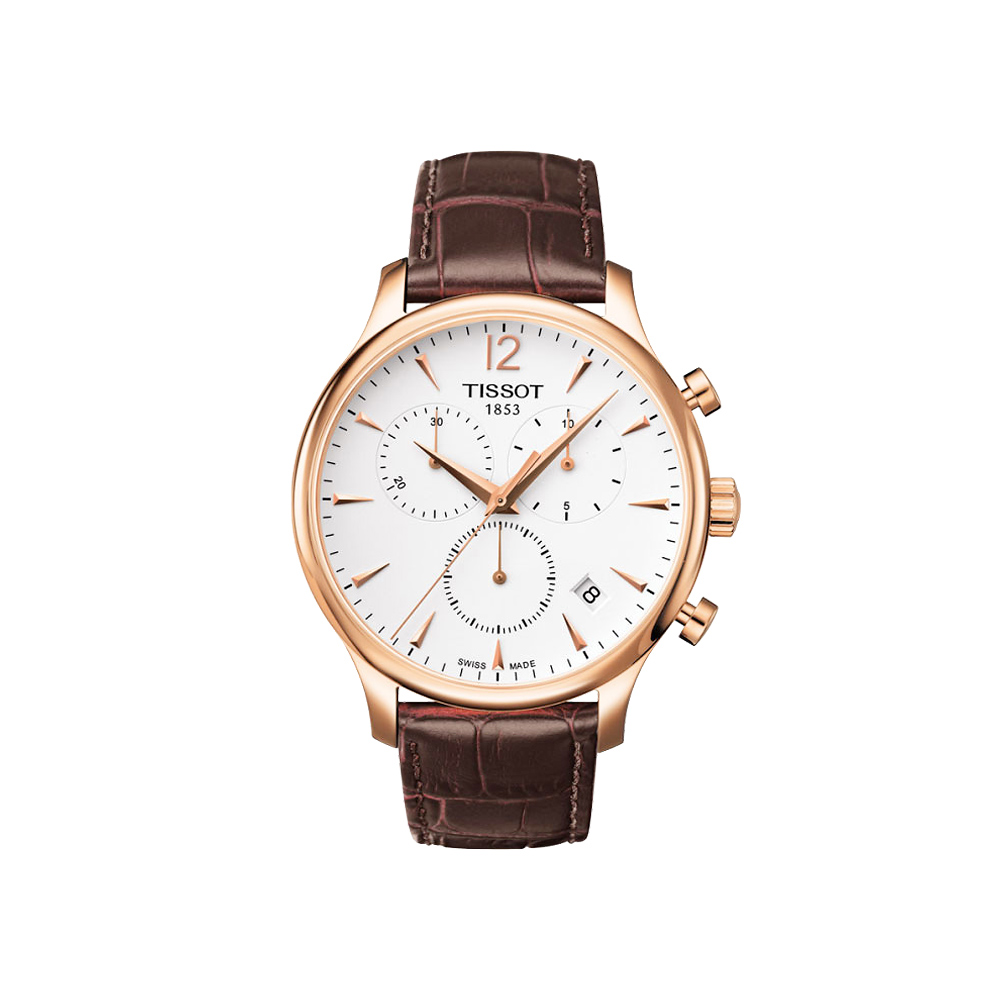 TISSOT Tradition 復刻計時腕錶-白x玫瑰金框/42mm