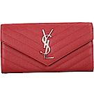 YSL Saint Laurent Monogram 絎縫荔紋牛皮釦式長夾(紅色)