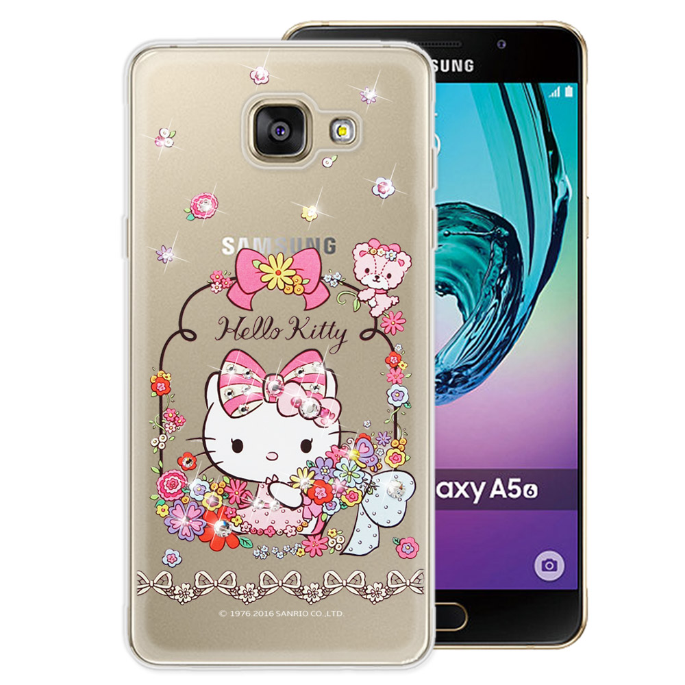 三麗鷗 Kitty 三星 Galaxy A5 (2016) 水鑽系列透明手機殼(花花凱蒂)