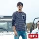 EDWIN T恤 配色條紋貼袋T恤-男-黑色