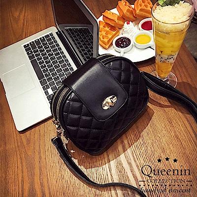 DF Queenin日韓 - 日系清甜菱格功能多隔層隨身包