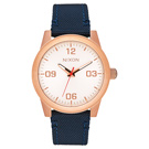 NIXON G.I NYLON  曠野風潮時尚運動腕錶-玫瑰金框藍-小-帆布+真/38mm