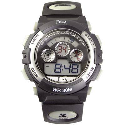 FEMA 繽紛年華 計時鬧鈴 數位休閒錶(P279G)-黑/37mm