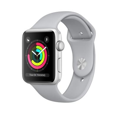 Apple Watch Series 3 GPS,42mm銀色鋁金屬錶殼/薄霧灰色運動錶帶