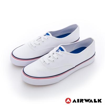AIRWALK(女) - 小藍標 紅邊經典基本綁帶帆布鞋 -最愛白
